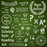 Back-to-school hand-drawn elements. Back to school hand drawn text lettering and icons Stock Photos
