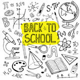 Back to school hand drawn illustration. Doodle set of school supplies and formulas. Royalty Free Stock Images