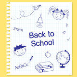 Back to school. Hand drawn school items on squared notebook paper Stock Photos