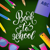 Back to school hand drawn lettering. Blackboard background with colorful pencils. Knowledge Day. Vector Illustration EPS10 Stock Photo