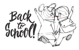 Back to school - hand drawn lettering phrase with hand sketch two pupils, boy and girl running to school holding hands Stock Photo