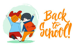 Back to school - hand drawn lettering phrase with hand sketch two pupils, boy and girl running to school holding hands Stock Images