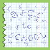 Back to School. Hand Drawn Letters, Mathematics Symbols and Maple Leaves.Scribbles on the Rippled Sheet of Copybook in a Cage. Royalty Free Stock Photos