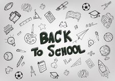 Back To School with hand drawn object art style on white background,Concept of education. royalty free stock image