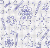 Back to school hand-drawn seamless pattern Stock Image