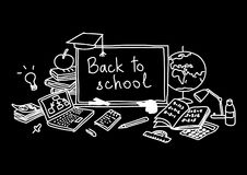 Back to school, hand drawn set color sketch, doodle, vector. Chalk board style. Stock Photo