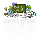 Back to school, hand drawn set color sketch, doodle, vector Stock Images