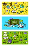 Back to school, hand drawn 3 in 1 set. Colored sketch, doodle, vector. school pack objects. Royalty Free Stock Photos