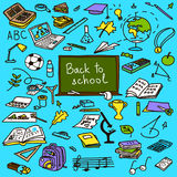 Back to school, hand drawn set sketch in color, doodle, , Royalty Free Stock Photography