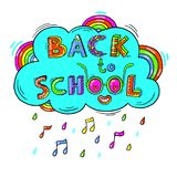 Back to School hand drawn words against the background of a cloud, a rainbow in a fun cartoon style.Vector illustration Royalty Free Stock Images