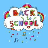 Back to School hand drawn words against the background of a cloud, a rainbow in a fun cartoon style.Vector illustration Stock Images