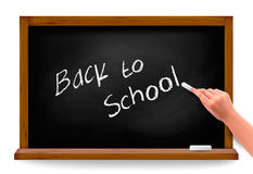 Back to school  Hand writing on a blackboard Stock Image