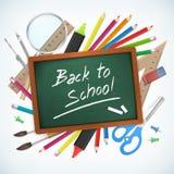 Back to school hand written on chalkboard  illustration Stock Photography