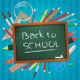 Back to school hand written on chalkboard  illustration Stock Image