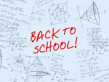 Back to school handwritten background. Back to school handwritten math background Royalty Free Illustration