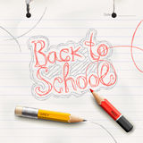 Back to school, handwritten with red pencil. Royalty Free Stock Photography