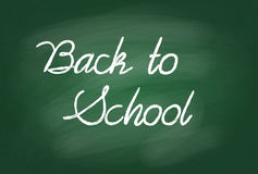 Back to school handwritten with white chalk on a school board. Vector illustration of words Back to school written with white chalk on a green school board Stock Images