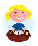 Back to school: Happy blond hair girl in classroom vector illustration