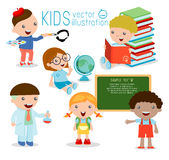 Back to school. happy cartoon kids in classroom, biology, botany, chemistry, drawing. Wrote in chalk on blackboard, happy kids Stock Photos