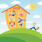 Back to school. Happy children in school. Close-knit class. To go to school Royalty Free Stock Photography