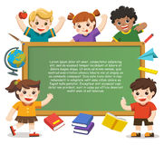Back to school. Happy children holding blank poster. Template fo Royalty Free Stock Photography