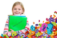 Back to school - happy kid with books and letters, isolated Royalty Free Stock Image