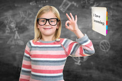 Back to school - happy kid with books and letters, isolated Stock Images
