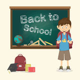 Back to school, Happy little boy with backpack vector illustrati Royalty Free Stock Images