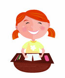 Back to school: Happy red hair girl in classroom. Small pupil sitting in the classroom. Cute girl study hard, but learning makes her fun! Stylized  Illustration Royalty Free Stock Photos