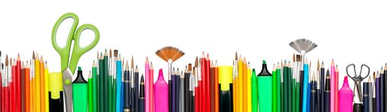Back to school Stationery tools supplies white background. Back to school header. Stationery tools supplies on white background Royalty Free Stock Photo