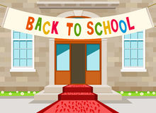 Back to school. Heading over in front of school Royalty Free Stock Photos