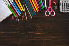 Back to school hero header image. With student's supplies. View from above. Flat lay Stock Images
