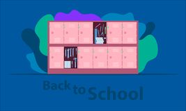 Back to school. the hero locker. the helper your chilren`s load.  time to funny happy with friends. vector illustration eps10. Back to school. the hero locker stock illustration