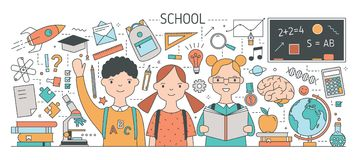 Back to school horizontal banner with adorable smiling kids or pupils surrounded by textbooks, educational materials royalty free illustration
