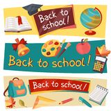 Back to school horizontal banners with education Royalty Free Stock Image