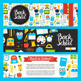 Back to School Horizontal Banners Stock Images