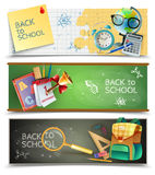 Back To School Horizontal Banners Set Stock Image
