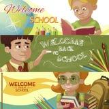 Back To School Horizontal Banners Set Stock Image