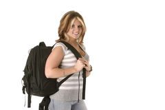 Back to school, horizontal, with text area. Pretty college aged girl carrying backpack royalty free stock images