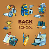 Back to school icon set. Back to School. Conceptual color icons set with school elements isolate on yellow background Stock Photo