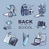 Back to school icon set. Back to School. Conceptual monochrome icons set with school elements isolate on blue background Stock Image