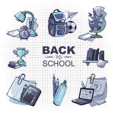 Back to school icon set. Back to School. Conceptual monochrome icons set with school elements isolate on white background Royalty Free Stock Photography