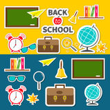 Back to school icon set Green board, bell, alarm Stock Photography