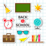 Back to school icon set  Green board, bell, alarm Stock Image