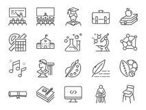 Back to school icon set. Included the icons as education, study, lectures, course, university, book, learn and more stock illustration