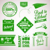 Back to school icon set labels design Stock Photos