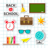 Back to school icon set Sticker collection Green Royalty Free Stock Image