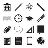 Back to School icon vector set, school building, pen, pensil, sport items, diploma and graduation cap icons, isolated silhouets Royalty Free Stock Photo