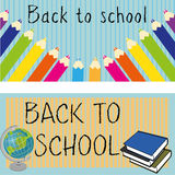 Back to school. Icons on blue background Stock Photos