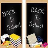 Back to school. Icons on different black boards Royalty Free Stock Photos